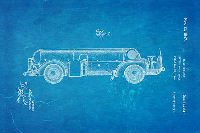 Antique Fire Trucks Photograph - Couse Fire Truck Patent Art 1947 Blueprint by Ian Monk