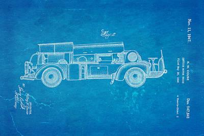 Antique Fire Trucks Photograph - Couse Fire Truck Patent Art 2 1947 Blueprint by Ian Monk