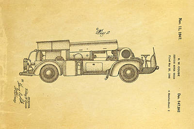 Antique Fire Trucks Photograph - Couse Fire Truck Patent Art 2 1947 by Ian Monk