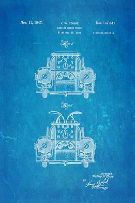 Antique Fire Trucks Photograph - Couse Fire Truck Patent Art 4 1947 Blueprint by Ian Monk