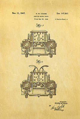 Antique Fire Trucks Photograph - Couse Fire Truck Patent Art 4 1947 by Ian Monk