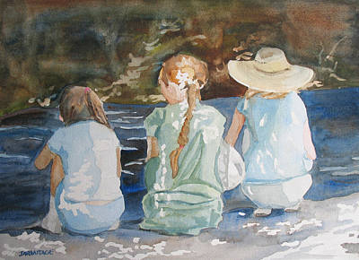 Baseball Cap Painting - Cousins At The Brook by Jenny Armitage