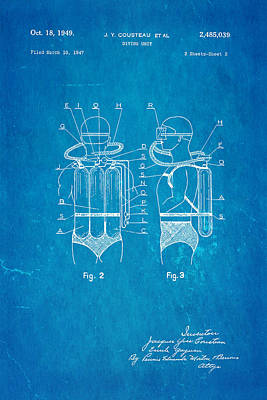 Jacques Photograph - Cousteau Diving Unit Patent Art 2 1949 Blueprint by Ian Monk