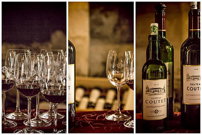 Tasting Photograph - Coutet Wine Tour Triptych by Georgia Fowler