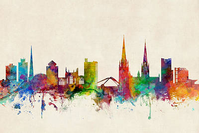 England Digital Art - Coventry England Skyline by Michael Tompsett