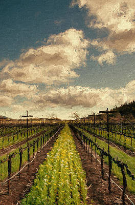 Grapevine Mixed Media - Cover Crop In Rows by John K Woodruff