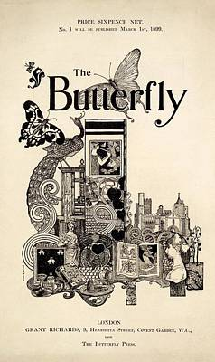Cover Of The Butterfly Magazine Art Print by English School