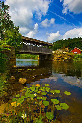 Built Structure Photograph - Covered Bridge Across A River, Vermont by Panoramic Images
