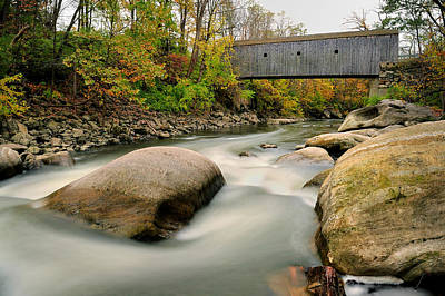 Photograph - Covered Bridge At Bull Run - Kent Connecticut by Expressive Landscapes Fine Art Photography by Thom