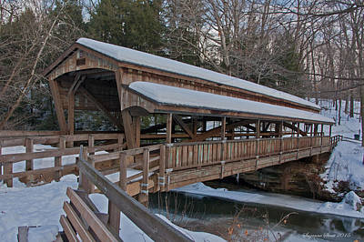 Photograph - Covered Bridge At Lanterman's Mill by Suzanne Stout