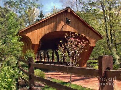 Photograph - Covered Bridge At Olmsted Falls-spring by Mark Madere