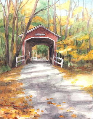 Drawing - Covered Bridge Autumn Shadows Watercolor Painting by Mike Theuer