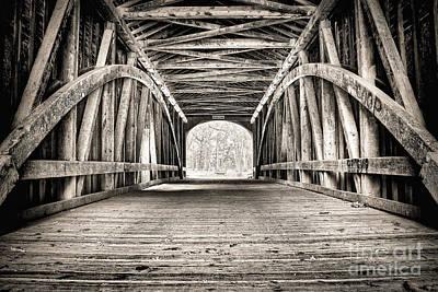 Covered Bridge B N W Art Print