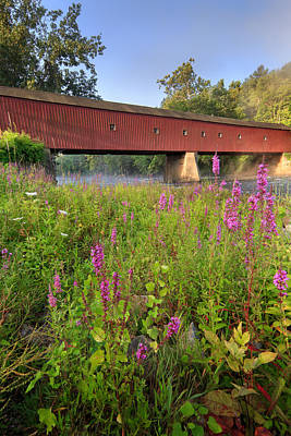 Historic Bridge Photograph - Covered Bridge West Cornwall by Bill Wakeley