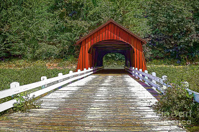 Oregon Covered Bridges Digital Art - Covered Bridge-d by Nancy Marie Ricketts