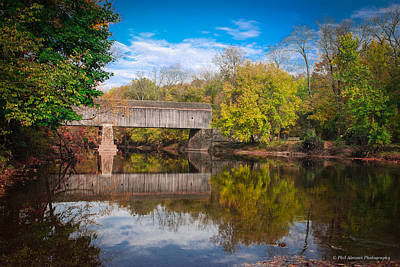 Art Print featuring the photograph Covered Bridge In Autumn by Phil Abrams