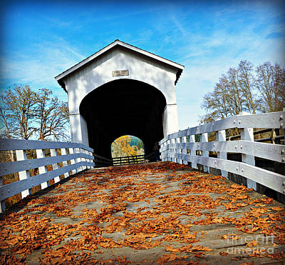 Photograph - Covered Bridge In Fall  by Mindy Bench