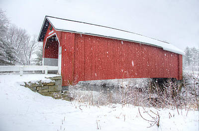 Snowstorm Photograph - Covered Bridge In Snow by Donna Doherty