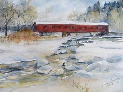 Covered Bridge In Snow Art Print by Heidi Brantley