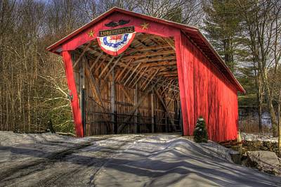 Covered Bridge In Snow Art Print by Patti Burnett
