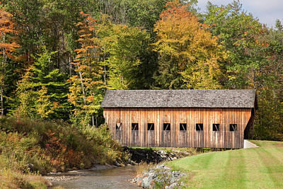 Photograph - Covered Bridge In Vermont During Autumn by Jenna Szerlag