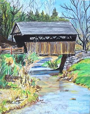 Early Spring Drawing - Covered Bridge In W. Virginia  by Frank Giordano