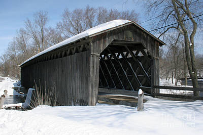 Photograph - Covered Bridge In Winter by PJ Boylan