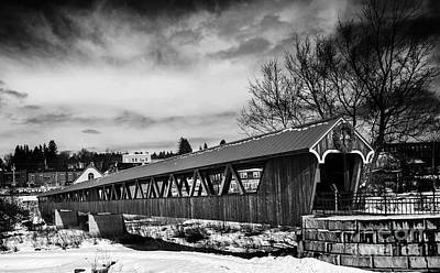 Photograph - Covered Bridge Littleton New Hampshire Black And White by Glenn Gordon