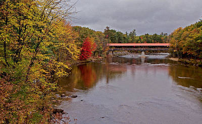 Bridge Photograph - Covered Bridge-october Morning by April Bielefeldt
