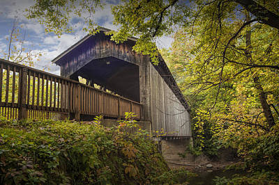 Covered Bridge On The Thornapple River In Ada Michigan Art Print by Randall Nyhof