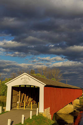 Indiana Autumn Photograph - Covered Bridge Over The East Fork by Chuck Haney