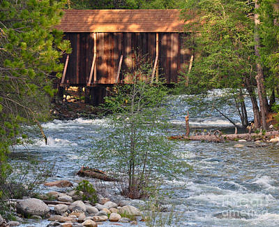 Art Print featuring the photograph Covered Bridge Over The River by Debby Pueschel