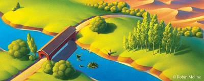 Country Drawing - Covered Bridge by Robin Moline