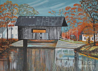 Covered Bridge Painting - Covered Bridge by Sally Rice