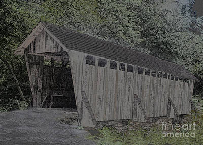Old Country Roads Digital Art - Covered Bridge by Sandra Clark
