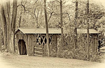 Autumn Photograph - Covered Bridge Sepia by Steve Harrington