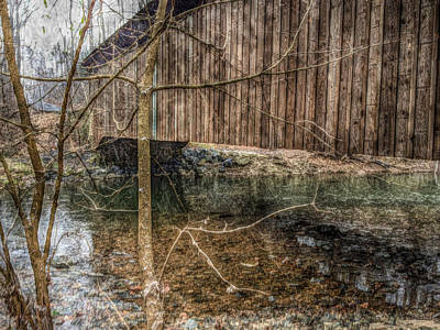 Print featuring the photograph Covered Bridge Snowy Day by Susan Maxwell Schmidt