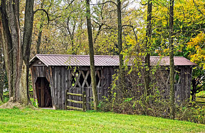 Autumn Photograph - Covered Bridge by Steve Harrington