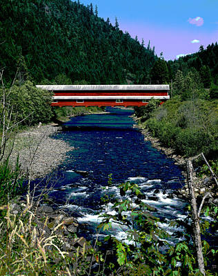 Covered Bridge The Office Bridge Art Print by Charles Shoup