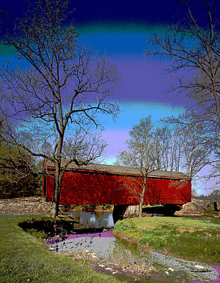 Covered Bridge Thurmont Maryland Art Print by Charles Shoup