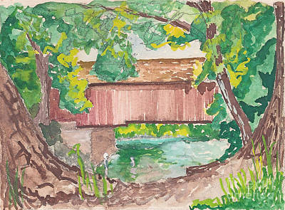 Covered Bridge Watercolor Art Print by Fred Jinkins