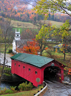 New England Fall Foliage Photograph - Covered Bridge-west Arlington Vermont by Thomas Schoeller