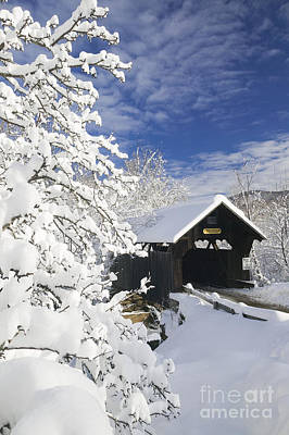 Photograph - Covered Bridged Blanketed In Fresh Snow. by Don Landwehrle