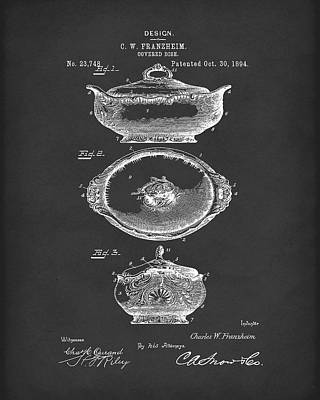 Drawing - Covered Dish 1894 Patent Art Black by Prior Art Design