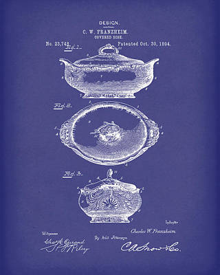 Drawing - Covered Dish 1894 Patent Art Blue by Prior Art Design