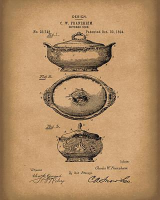 Covered Dish 1894 Patent Art Brown Art Print