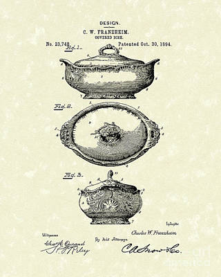 Drawing - Covered Dish 1894 Patent Art by Prior Art Design