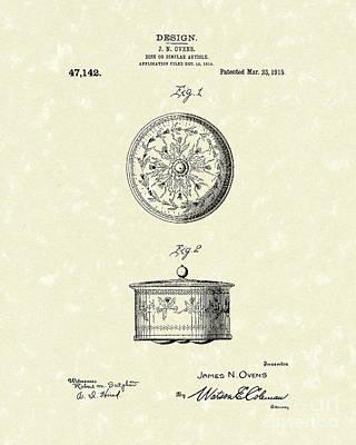 Covered Dish 1915 Patent Art Art Print