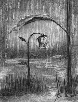 Rain Drawing - Covered In Prayer by J Ferwerda