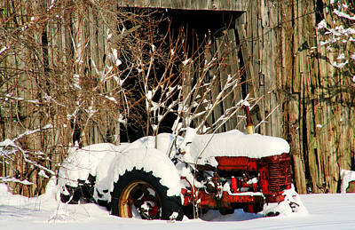 Tractor Photograph - Covered In Snow by Heather Allen